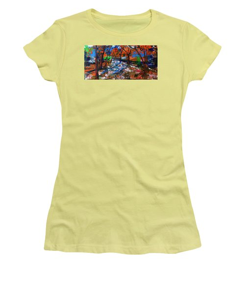 Women's T-Shirt (Junior Cut) featuring the painting Fall Colors And First Snow by Walter Fahmy