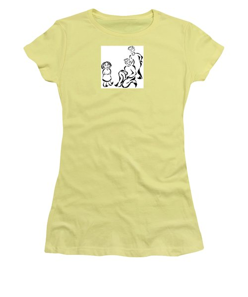 Women's T-Shirt (Junior Cut) featuring the mixed media Family Time by Delin Colon