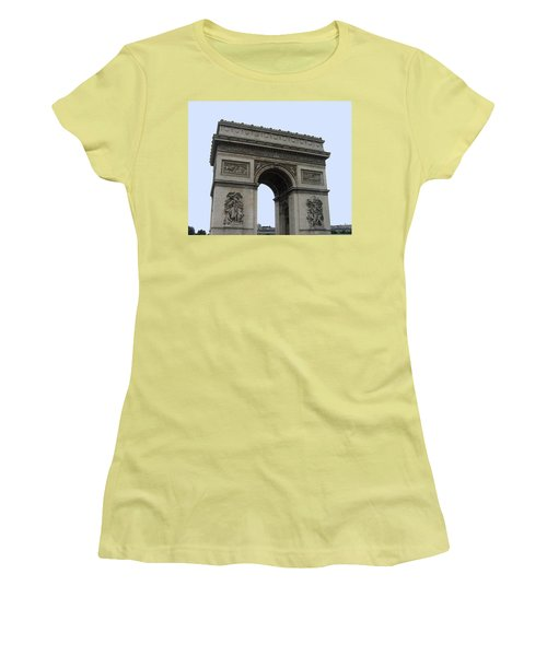 Women's T-Shirt (Junior Cut) featuring the photograph Famous Gate Of Paris - Arc De France by Suhas Tavkar