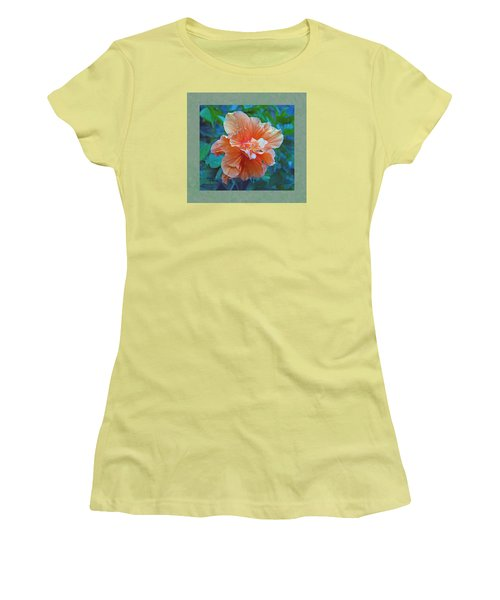 Fancy Peach Hibiscus Women's T-Shirt (Athletic Fit)
