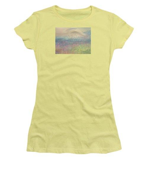 Women's T-Shirt (Junior Cut) featuring the digital art Fantasy Fields by Nina Bradica