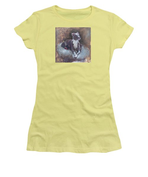 Women's T-Shirt (Junior Cut) featuring the painting Faris 1 by Becky Kim