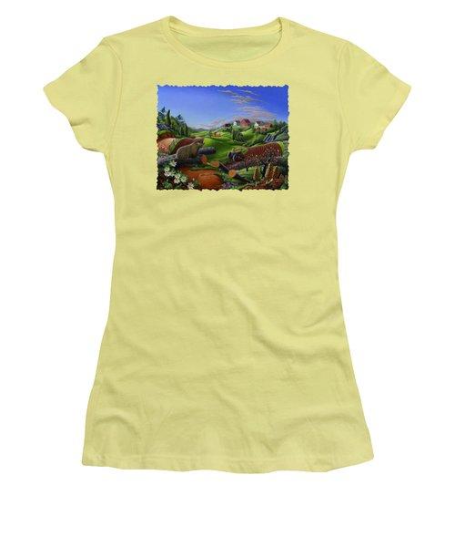Farm Folk Art - Groundhog Spring Appalachia Landscape - Rural Country Americana - Woodchuck Women's T-Shirt (Athletic Fit)
