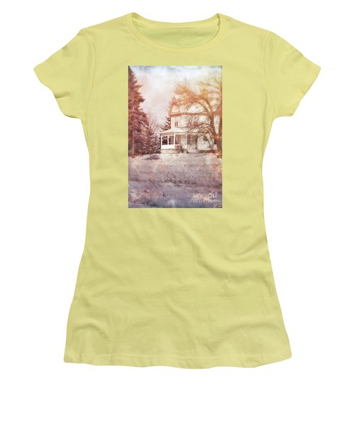 Women's T-Shirt (Junior Cut) featuring the photograph Farmhouse In Snow by Jill Battaglia