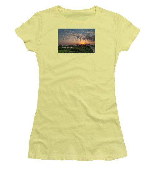 Farmstead Sunrise Women's T-Shirt (Junior Cut) by Dan Traun