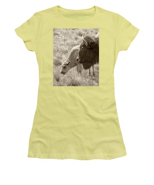Women's T-Shirt (Junior Cut) featuring the photograph Father And Baby Buffalo by Rebecca Margraf
