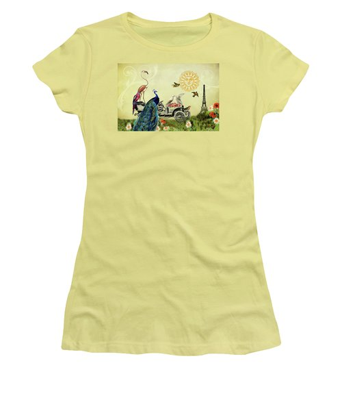 Feathered Friends In Paris, France Women's T-Shirt (Athletic Fit)