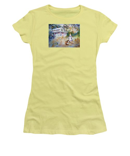 Women's T-Shirt (Junior Cut) featuring the painting Feeding Time by Mary Haley-Rocks