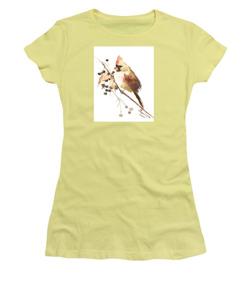 Female Cardinal Bird Women's T-Shirt (Junior Cut) by Suren Nersisyan