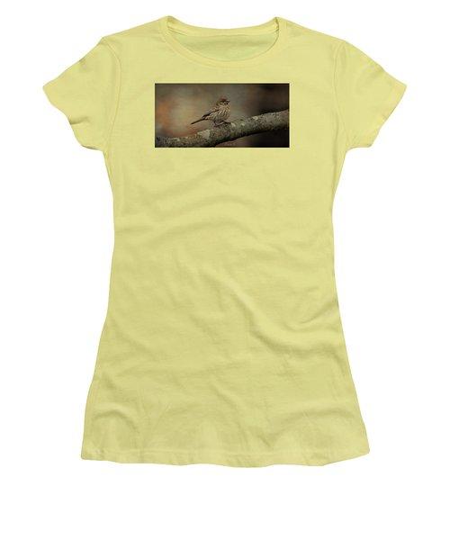 Female House Finch Women's T-Shirt (Junior Cut) by Diane Giurco