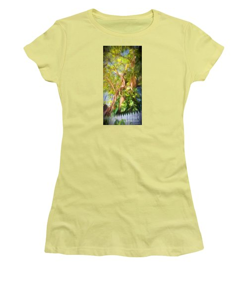 Women's T-Shirt (Junior Cut) featuring the digital art Fence And Trees In Keys by Linda Olsen