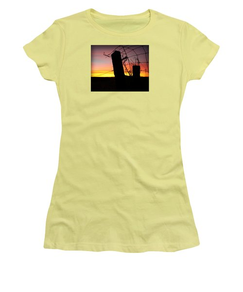 Fence Sunrise Women's T-Shirt (Junior Cut) by Kathy M Krause