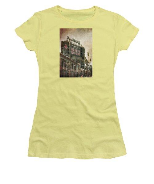 Fenway Park Billboard - Boston Red Sox Women's T-Shirt (Junior Cut) by Joann Vitali