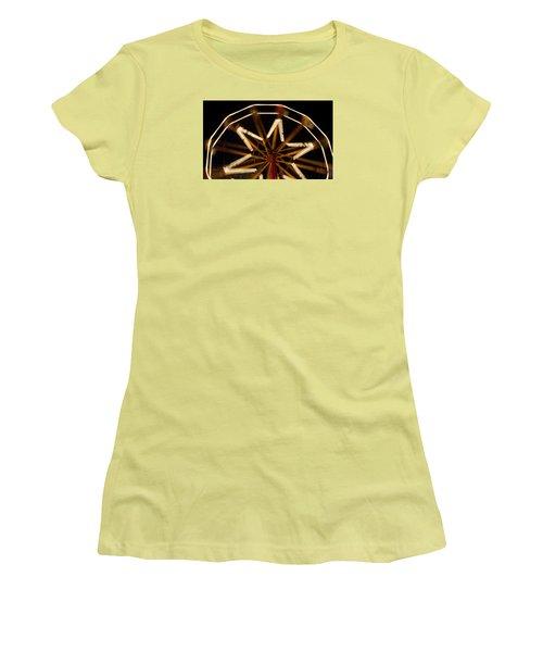 Ferris Wheel At Night Women's T-Shirt (Junior Cut) by Helen Northcott