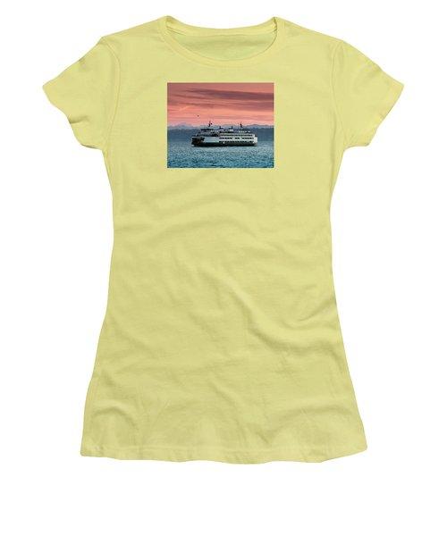 Ferry Cathlamet At Dawn.1 Women's T-Shirt (Junior Cut) by E Faithe Lester