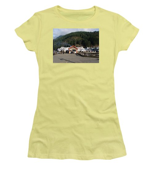 Women's T-Shirt (Junior Cut) featuring the painting Ferry Landed At Horseshoe Bay by Rod Jellison