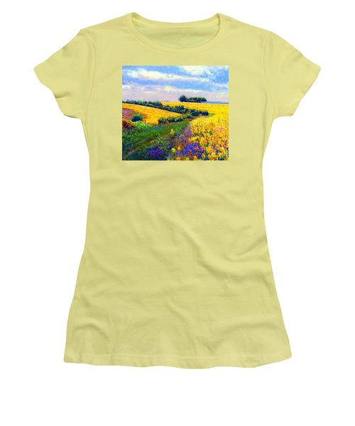 Women's T-Shirt (Junior Cut) featuring the painting Fields Of Gold by Jane Small
