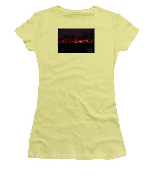 Women's T-Shirt (Junior Cut) featuring the photograph Fiery Kansas Sky by Mark McReynolds