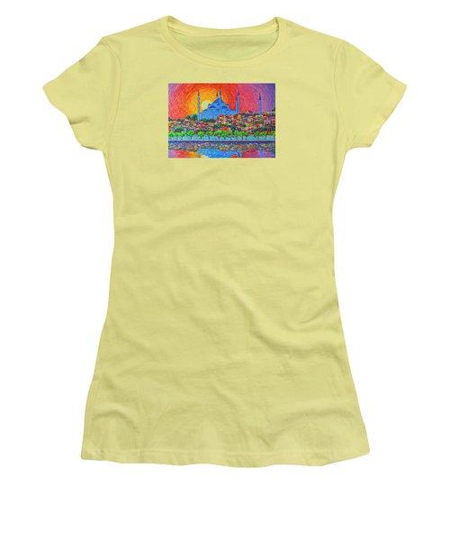 Fiery Sunset Over Blue Mosque Hagia Sophia In Istanbul Turkey Women's T-Shirt (Junior Cut) by Ana Maria Edulescu