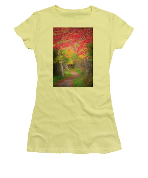 Women's T-Shirt (Junior Cut) featuring the photograph Fire Red Path  by Emmanuel Panagiotakis