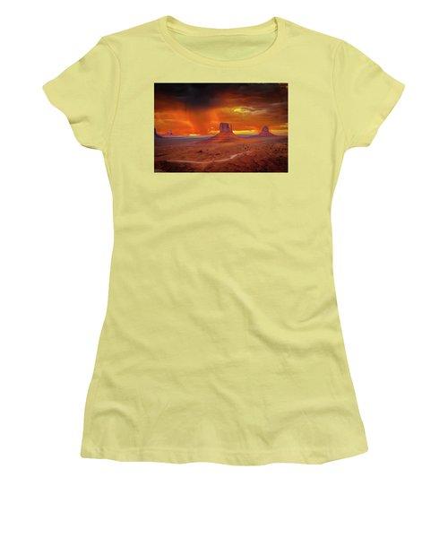 Firestorm Over The Valley Women's T-Shirt (Junior Cut) by Mark Dunton