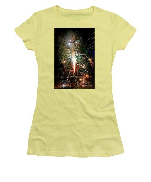 Fireworks Women's T-Shirt (Junior Cut) by Vivian Krug Cotton