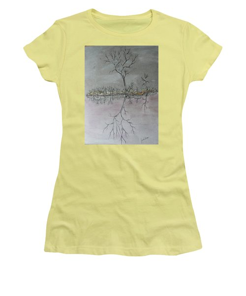 Women's T-Shirt (Junior Cut) featuring the drawing First Frost by Jack G Brauer
