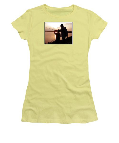 Women's T-Shirt (Junior Cut) featuring the photograph Fishing At Sunset Grandfather And Grandson by A Gurmankin