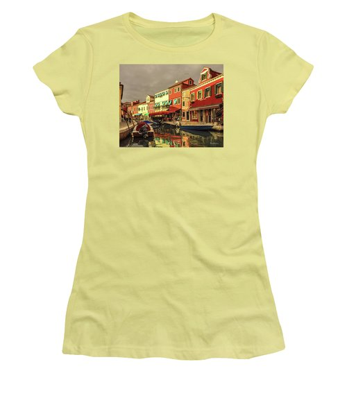 Fishing Boats In Colorful Burano Women's T-Shirt (Athletic Fit)