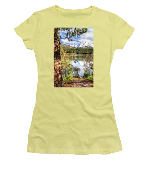 Women's T-Shirt (Athletic Fit) featuring the photograph Fishing In Manzanita Lake by James Eddy