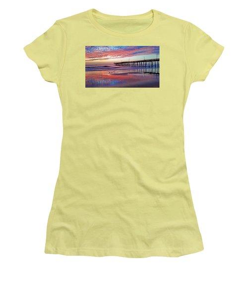 Fishing Pier Sunrise Women's T-Shirt (Junior Cut) by Suzanne Stout