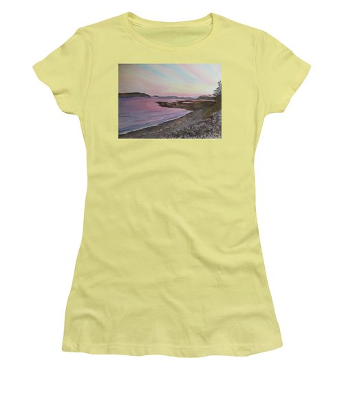Women's T-Shirt (Athletic Fit) featuring the painting Five Islands - Draft IIi by Joel Deutsch