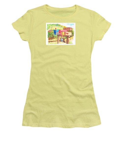 Five Mail Boxes In Route 1, San Simeon, California Women's T-Shirt (Junior Cut) by Carlos G Groppa