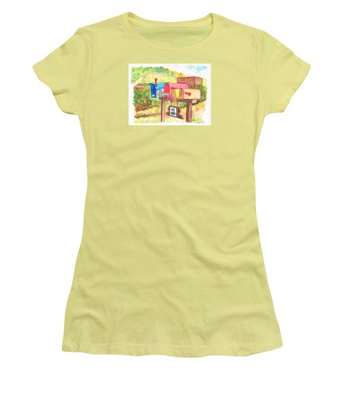 Five Mail Boxes In Route 1, San Simeon, California Women's T-Shirt (Athletic Fit)
