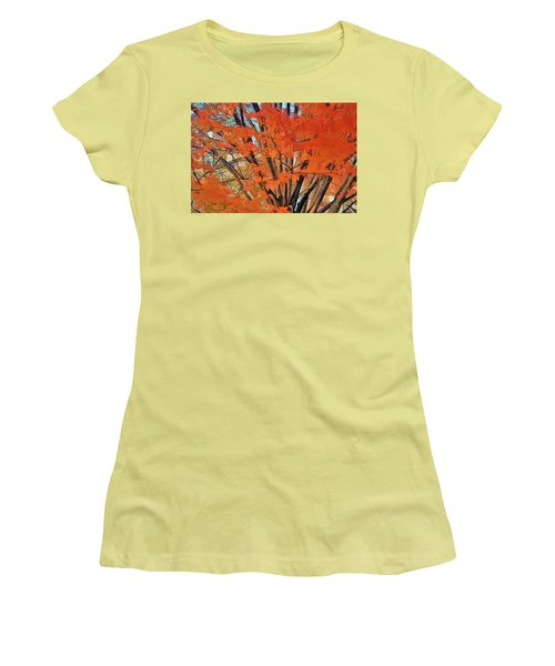 Flaming Fall Foliage Women's T-Shirt (Junior Cut) by Terry Cork