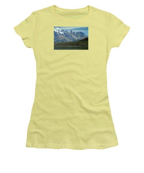 Flamingos Over Lago Nordenskjold Women's T-Shirt (Junior Cut) by Alan Toepfer