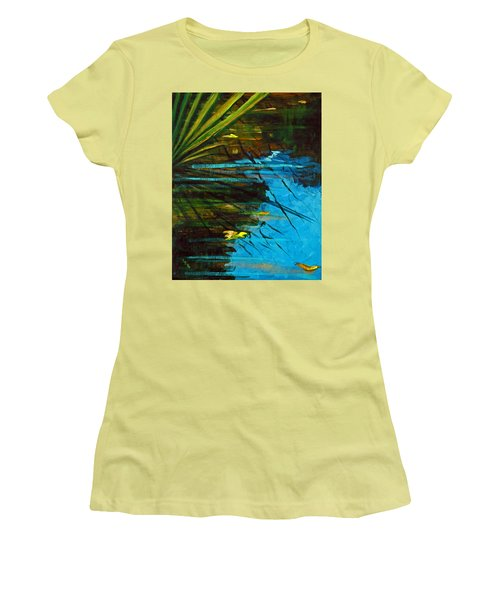Floating Gold On Reflected Blue Women's T-Shirt (Junior Cut) by Suzanne McKee