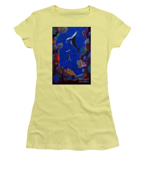 Floating Whales Women's T-Shirt (Athletic Fit)