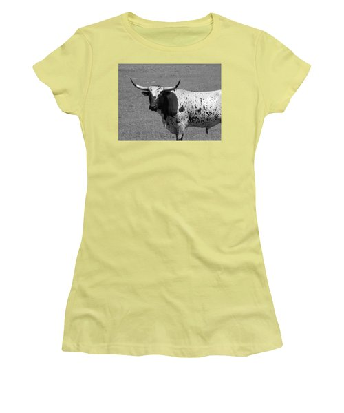 Florida Longhorn Black And White Photo Women's T-Shirt (Athletic Fit)