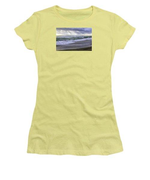 Florida Treasure Coast Beach Storm Waves Women's T-Shirt (Junior Cut) by Betty Denise