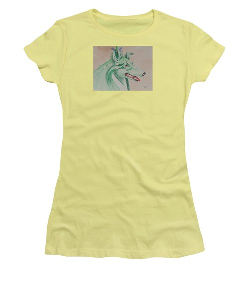 Women's T-Shirt (Junior Cut) featuring the painting Flower Dog # 11 by Hilda and Jose Garrancho