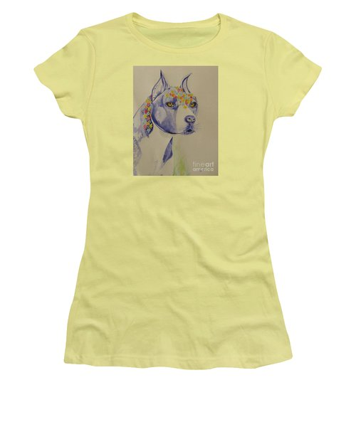 Women's T-Shirt (Junior Cut) featuring the photograph Flower Dog 1 by Hilda and Jose Garrancho