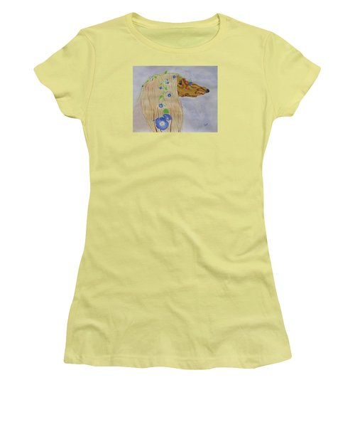Women's T-Shirt (Junior Cut) featuring the painting Flower Dog 10 by Hilda and Jose Garrancho