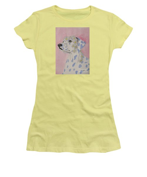 Women's T-Shirt (Junior Cut) featuring the painting Flower Dog 2 by Hilda and Jose Garrancho