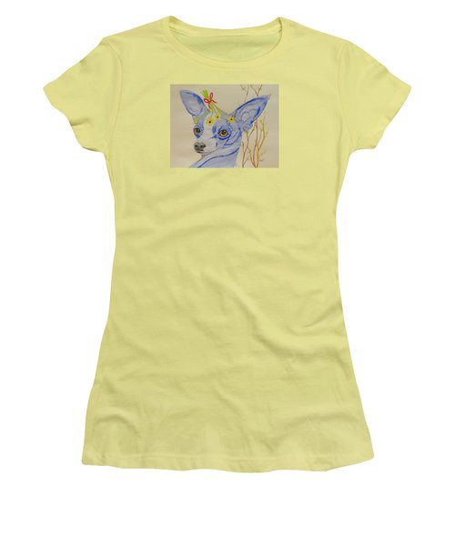 Women's T-Shirt (Junior Cut) featuring the painting Flower Dog 7 by Hilda and Jose Garrancho