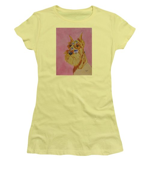Women's T-Shirt (Junior Cut) featuring the painting Flower Dog 9 by Hilda and Jose Garrancho