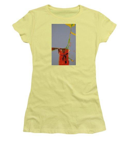 Women's T-Shirt (Junior Cut) featuring the painting Flower In Pitcher- Abstract Of Course by Cliff Spohn