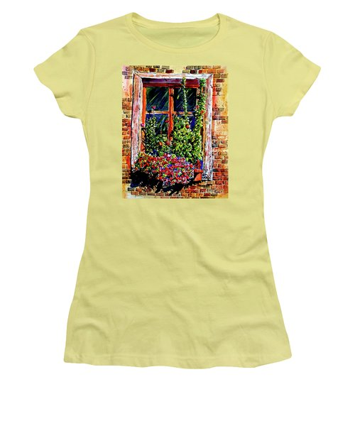Women's T-Shirt (Junior Cut) featuring the painting Flower Window by Terry Banderas