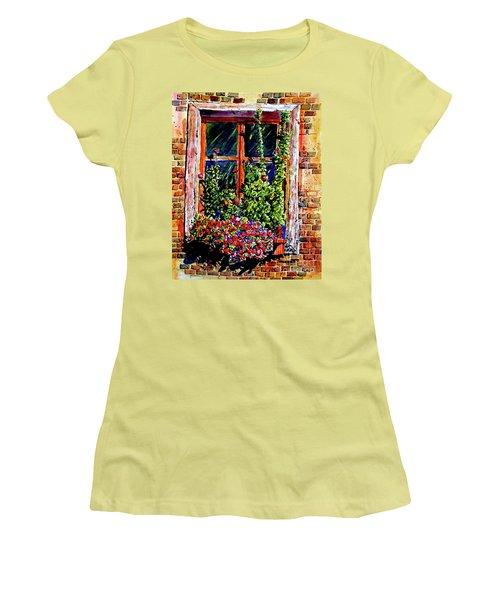 Flower Window Women's T-Shirt (Junior Cut) by Terry Banderas