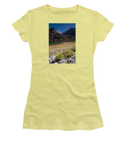 Flowers And Mountain Lake In Santa Cruz Valley Women's T-Shirt (Junior Cut) by Aivar Mikko
